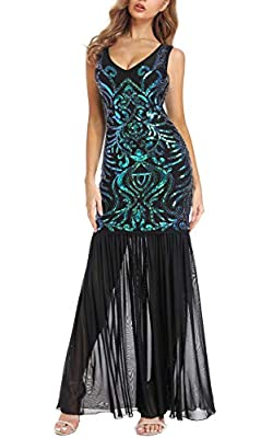 VVMCURVE Women's 1920s Black Sequin Sexy V Neck Gatsby Maxi Long Evening Prom Dress