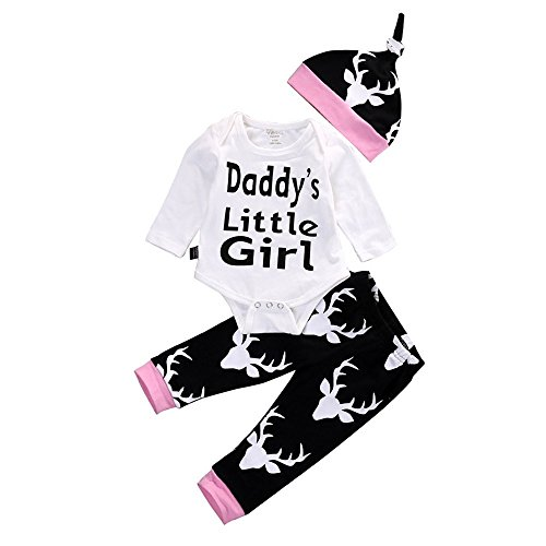 Baby Clothes Set for 0-24 Months 3 Pcs Set Deer Long Sleeves Romper T-Shirt Tops Pants Hat Outfit White -