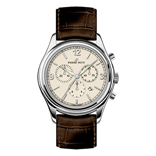 Pierre Petit P-836B Swiss Chronograph Leather-Band Watch w/Date - Silver/Brown