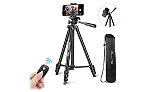 """UBeesize Phone Tripod, 51"""" Adjustable Travel Video Tripod Stand with Cell Phone Mount Holder & Smartphone Bluetooth Remote, Compatible with iPhone/Android (Black)"""