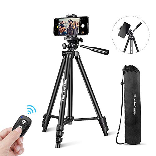 "Phone Tripod, UBeesize 50"" Adjustable Travel Video Tripod Stand with Cell Phone Mount Holder & Smartphone Bluetooth Remote, Compatible with iPhone/Android (Black)"