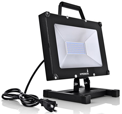 Hyperikon 50W LED Work Light Portable Fixture 5000K, Adjustable light with Plug and Stand, for outdoor, garage, construction, UL, IP65 Waterproof, 100-277V by Hyperikon