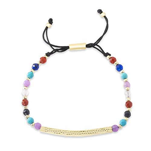 Willowbird Yellow Gold Plated Sterling Silver Bar and Rainbow Chakra Balancing Bracelet for Women with Healing Beads (Yellow Textured Multi) ()