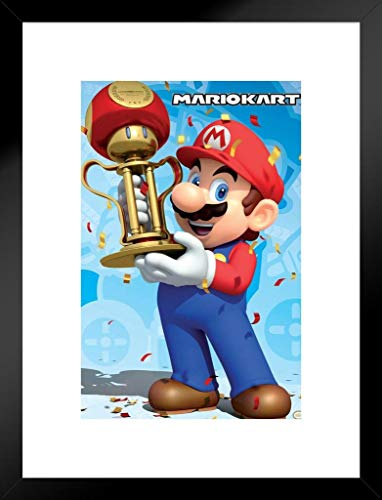 - Pyramid America Mario Kart Mario Trophy Win Nintendo Matted Framed Wall Art Print 20x26 inch