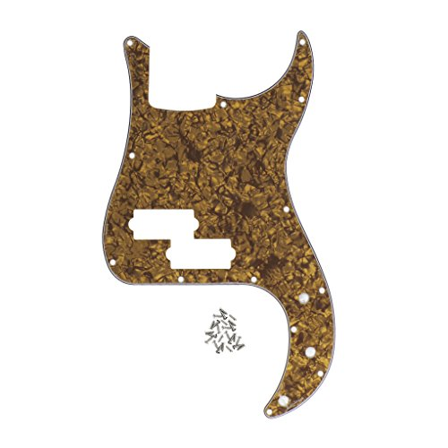 FLEOR 13 Hole P Bass Pickguard Guitar Scratch Plate Pick Guard w/Screws for 4 String USA/Mexican Standard Precision Bass Style, 4Ply Brown Pearl