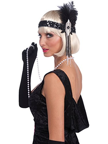 Forum Novelties Roaring 20's Deluxe Black and Silver Flapper Headband, Black/Silver, One -