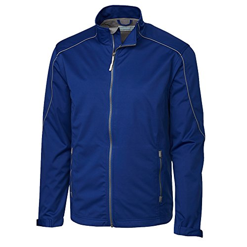 (Cutter & Buck Men's Weather Resistant, Midweight Softshell Opening Day Jacket, Tour Blue 3X-Large )