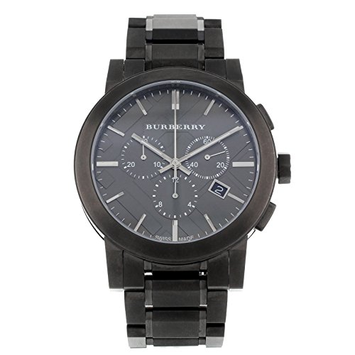 Burberry Men's BU9354 Large Check Gray Ion Plated Stainless Steel - Usa Shop Burberry Online