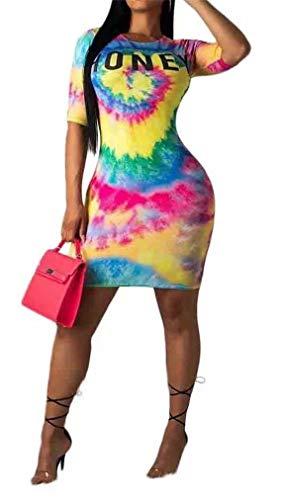 Women Bodycon Dress Tie Dye Letter Print Short Sleeve Crewneck T-Shirt Pencil Mini Dress Party Clubwear