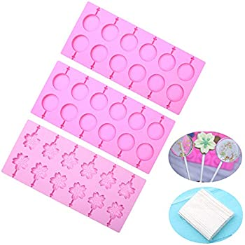 BAKER DEPOT Round Silicone Lollipop Molds 2 pcs Cherry Blossoms Chocolate Hard Candy Mold with 100pcs Paper Sticks, Set of 3