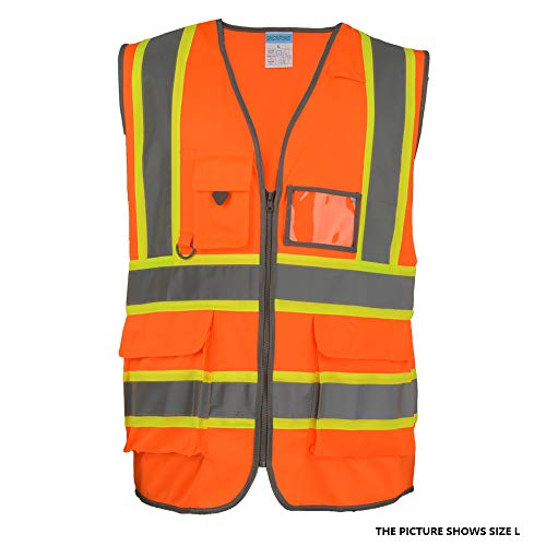 SHORFUNE High Visibility Safety Vest with Pockets, Mic Tab, Reflective Strips and Zipper, Orange, ANSI/ISEA Standards, M