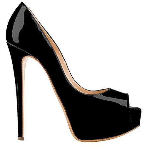Heels Shoes Toe Stilettos Solid Court Party Patent High Pumps Platform Women Peep Evening Black Leather Extreme Shoes Emiki wCqSO0a