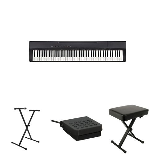 Casio Privia PX160BK 88-Key Full Size Digital Piano with On Stage Classic Single-X Keyboard Stand, Casio SP-3 Sustain Pedal and World Tour Deluxe Padded Keyboard Bench