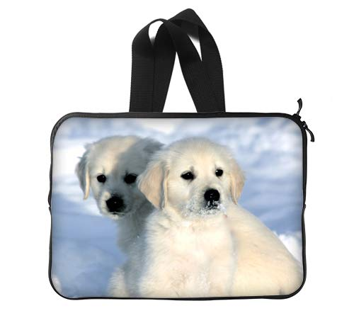 Golden Retriever Puppies Playing Snow Custom Lapotp Sleeves Bags 13
