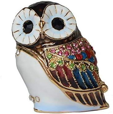 WanTo Mini aleación de Moda búho de Metal pájaro Caja de la baratija Esmalte Rhinestone joyero pájaro estatuilla Metal giftwares cumpleaños XMas Regalos: Amazon.es: Hogar