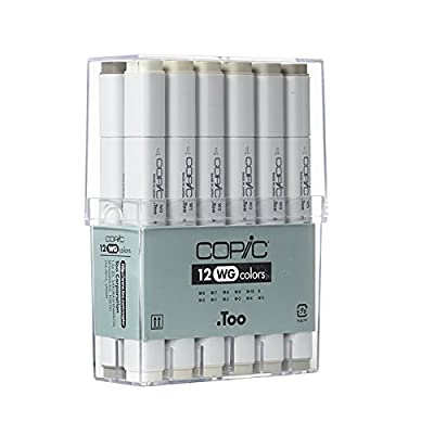 Copic Markers 12-Piece Warm Gray Set