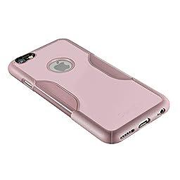 iPhone 6 Plus Case, 6s Plus Pink Rose Gold Bonus Tempered Glass Screen Protector [Slim Rugged Protection Kit] [Built-In Camera Hood] TPU Bumper PC Back SaharaCase