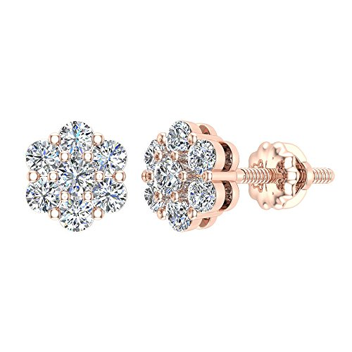 0.62 ct tw Cluster Diamond Flower Stud Earrings 14K Rose Gold ()