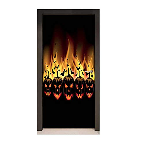 Homesonne Vintage Halloween Door Sticker Happy Halloween Image with Jack o Lanterns on Fire with Bats Holiday for Bedroom Decoration Black Scarlet,W17.1xH78.7 -