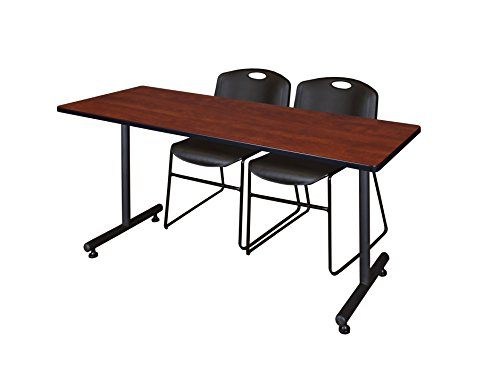 Regency Kobe 60'' x 24'' Training Table and 2 Zeng Stack Chairs, Black/Cherry by Regency