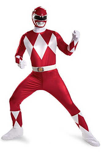 Disguise Sabans Mighty Morphin Power Rangers Red Ranger Super Deluxe Mens Adult Costume, Red/White, X-Large/42-46