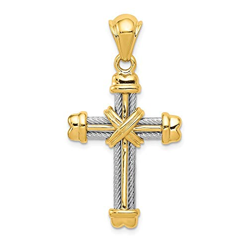 (14k Two Tone Gold Rope Cross Pendant)