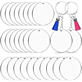 3 Inch Acrylic Keychain Blanks Bulk, Cludoo 30pcs Clear Round Acrylic Ornament Blanks, Acrylic Circle Disc Ornament Blanks wi