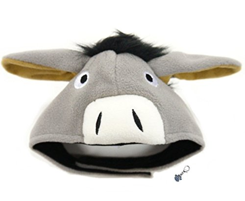 Plush Pet Costume Hat with Clip on Charm - Cute Donkey Pet Costume - Pet Hat - for Dogs - Pet Sizes XS to XL (Cute Donkey, L)
