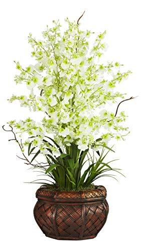 (Artificial Flowers -Green Dancing Lady Flower Arrangement Silk Flowers)