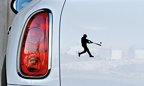 (Baseball Player Silhouette Version 1 Swinging Bat Ball Car Vinyl Sticker Decal Bumper Sticker for Auto Cars Trucks Windshield Custom Walls Windows Ipad Macbook Laptop and More (BLACK))