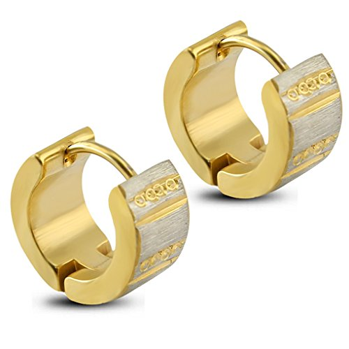 fonk: Fashion Hoop Earrings Gold Plated Small Earring Huggie Earrings 316L Stainless Steel Huggie Hoop Earring