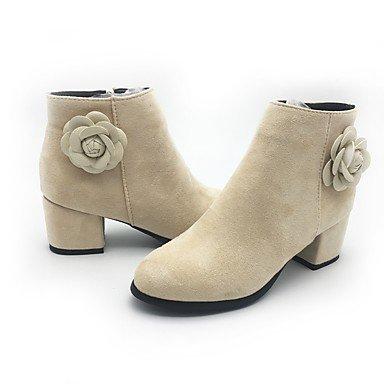 Winter Party Boots 3 beige Evening Women's Zipper 2 Fall amp;xuezi Heel Fleece Chunky Black amp; 4in Beige Fashion Boots 2in Gll Dress Flower Casual EqfpYzwp