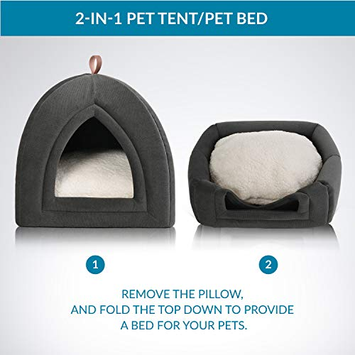 Petsure Cat Bed Pet Tent Cave for Cats/Small Dogs - 15x15x15 inches 2-in-1 Cat Tent/Cat Bed with Removable Washable Cushioned Pillow - Microfiber Indoor Outdoor Pet Beds, Dark Grey