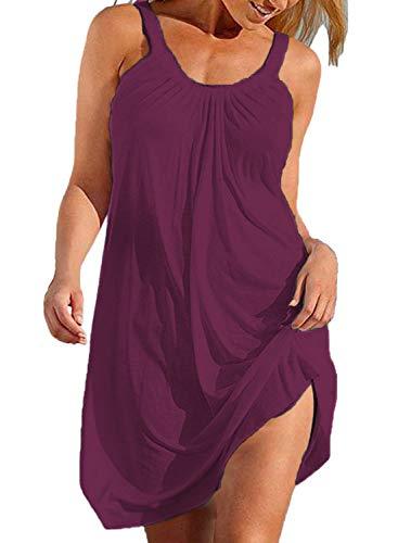 (BLUETIME Women's Summer Halter Sleeveless Pleated Beach Short Mini Dresses Cover Ups (Burgundy, S))