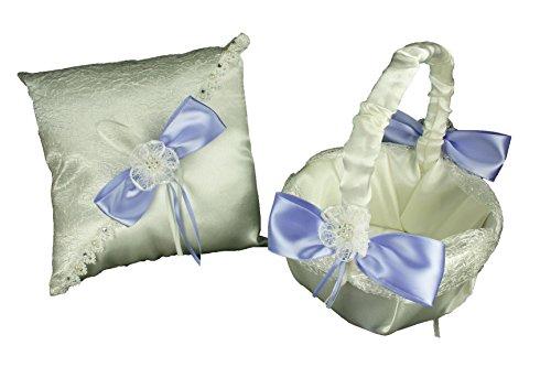 Dreampartycreation IVORY Wedding SET Flower Girl Basket & Ring Pillow with Sisal Mesh Design Satin Bow and Rhinestone Flower Trim (Iris ()