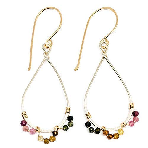 Tourmaline Earrings Sterling Silver Mixed Metal Dangle October Birthstone Kahili ()