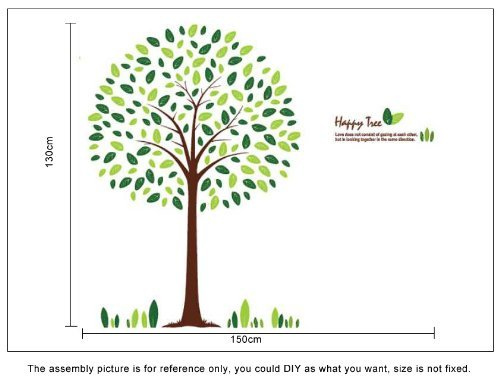 OneHouse Happy Round Tree 130cm Tall Wall Sticker Living Room Decoration