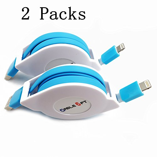 HagieNu 2 Packs Extra Long 6ft Retractable USB Charger Cable Cord Retractable Phone Charging Cable Compatible with iPh Series (Blue)