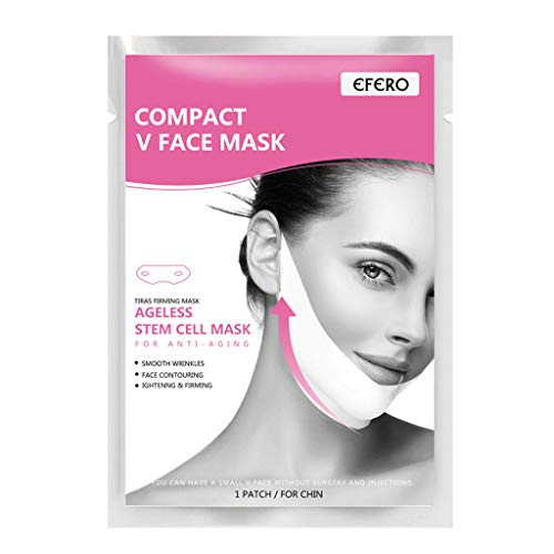 COM1950s Moisturizing White Women Face-Lift Face Mask Slimming V Shape Facial Sheet Skin Care Mask 2pcs/10pcs Promote Blood Circulation (White, 2PC)]()