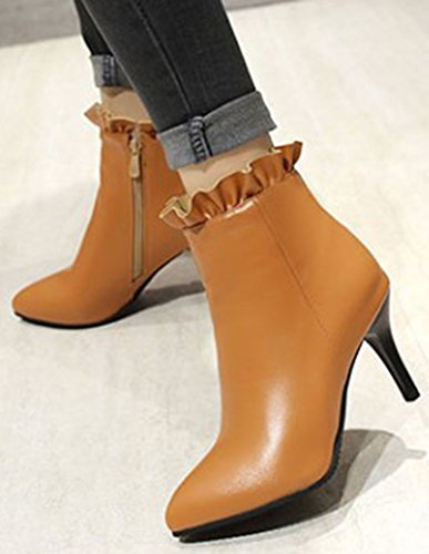 High Toe Zipper Ankle Short Side Women's Stiletto Easemax Yellow Pointy High Booites Dressy Heeled 8xYwfnE
