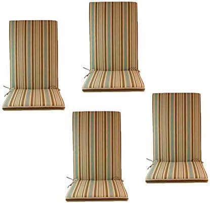 Edenjardi Pack 4 Cojines de Exterior para sillones reclinables Color Lux Estampado a Rayas, Tamaño 114x48x5 cm, Repelente al Agua, Desenfundable: Amazon.es: Jardín