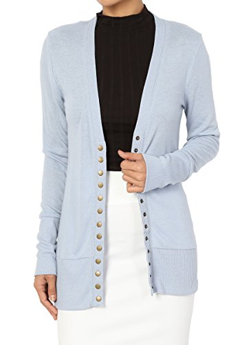 TheMogan Women's Snap Button V-Neck Long Sleeve Knit Cardigan Ash Blue L