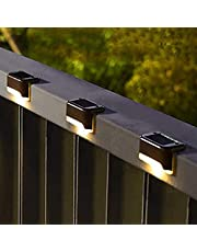 AMERTEER Solar Deck Lights Outdoor 12 Pack, Solar Step Lights Waterproof Led Solar Lights for Outdoor Stairs, Step, Fence, Yard, Patio, and Pathway(Warm White)
