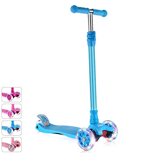 GOOGO Kick Scooter for Kids & Toddlers Girls or Boys, 4 Adjustable Height, Extra-Wide Deck, Lean to Steer with PU Light Up Wheels for Children from 3 to 14 Year -