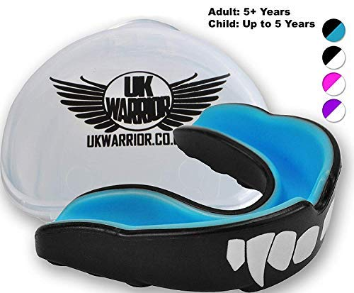 UK Warrior Vampire Gum Shield - Best Mouth Guard Gumshield Gum Guard Gum Shield - For all contact sports rugby boxing hockey kickboxing martial arts judo karate MMA football (With Free Case)