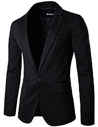 Allegra K Men Notched Lapel Center-Vent Back One-Button Blazer