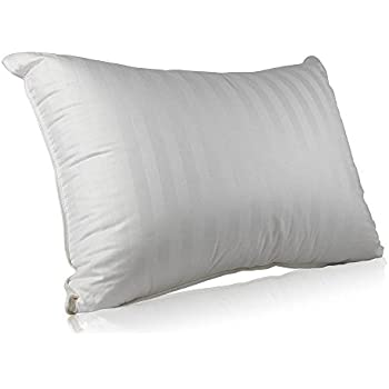 Superior 100% Down Pillows - 700 Fill Power (29oz.) Hungarian White Goose Down Sleeper - 100% Cotton Striped Damask Shell Pillowcase - King Size, 20 X 36-Inch – Proudly Made in The USA