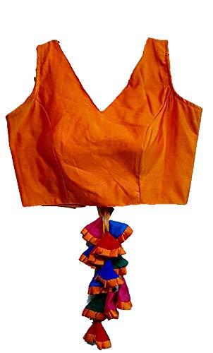SumairaTex Women's Multicolour V Shape Neck Design Multi Latkan Plain Satin Readymade Blouse for Saree and Lehenga (Size 38+Margin) (Attach Sleeves)