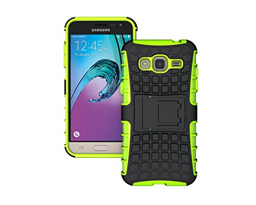 Amp Green (Berry Accessory Heavy Duty Rugged Drop Protection Shock Proof Dual Lawyer Hybrid Defender Armor with Built-in Kickstand Case For Samsung Galaxy J3/Express Prime/Amp Prime + Berry holder (Green))