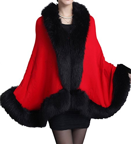 Helan Women's Faux Fox Fur Shawl Cloak Cape Coat With Floral Red -
